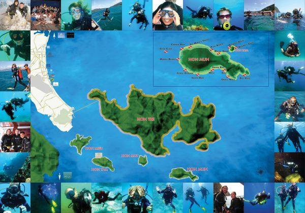 Sailing Club Divers PADI Dive Center Nha Trang Vietnam - Nha Trang Scuba Dive Sites Map